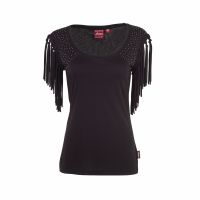 Women's Sleeveless Scoop Neck Fringe T-Shirt with Diamante Shoulders, Black