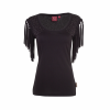 Women's Sleeveless Scoop Neck Fringe T-Shirt with Diamante Shoulders, Black - Image 1 de 2