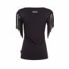 Women's Sleeveless Scoop Neck Fringe T-Shirt with Diamante Shoulders, Black - Image 2 de 2