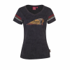 Women's V-Neck Color Headdress T-Shirt with Striped Sleeve, Black - Image 1 of 2