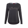 Women's Long-Sleeve T-Shirt with Diamante Logo, Charcoal - Image 1 of 2