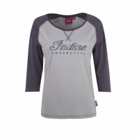 Women's Long-Sleeve Raglan T-Shirt with Script Logo, Gray/Charcoal