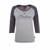 Women's Long-Sleeve Raglan T-Shirt with Script Logo, Gray/Charcoal - Image 1 of 2