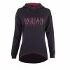 Women's Dropped Back Hem Hoodie Sweatshirt with Glitter Logo, Black - Image 1 of 2