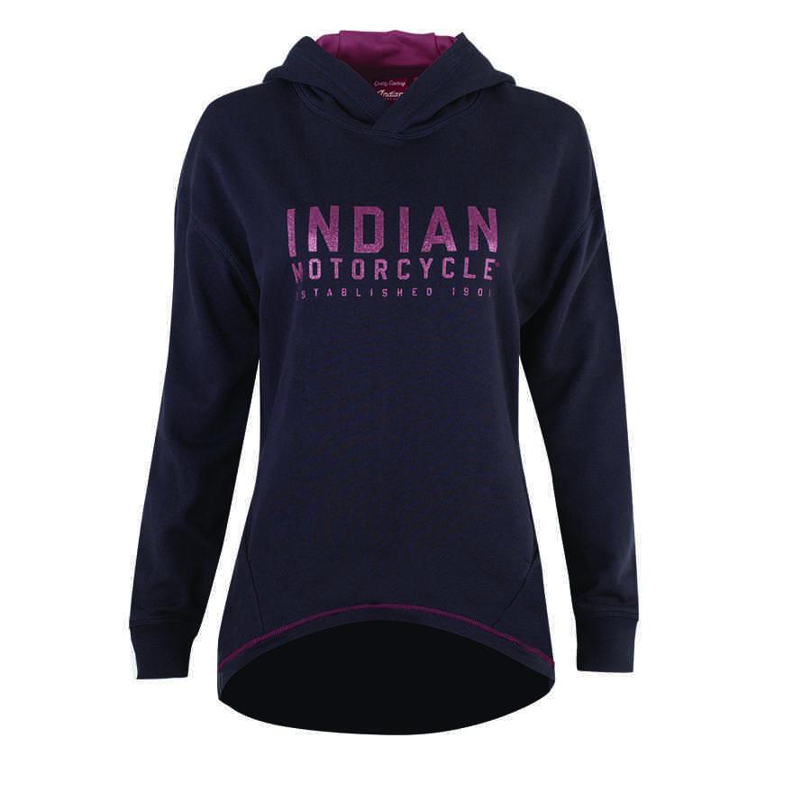 Women's Dropped Back Hem Hoodie Sweatshirt with Glitter Logo, Black