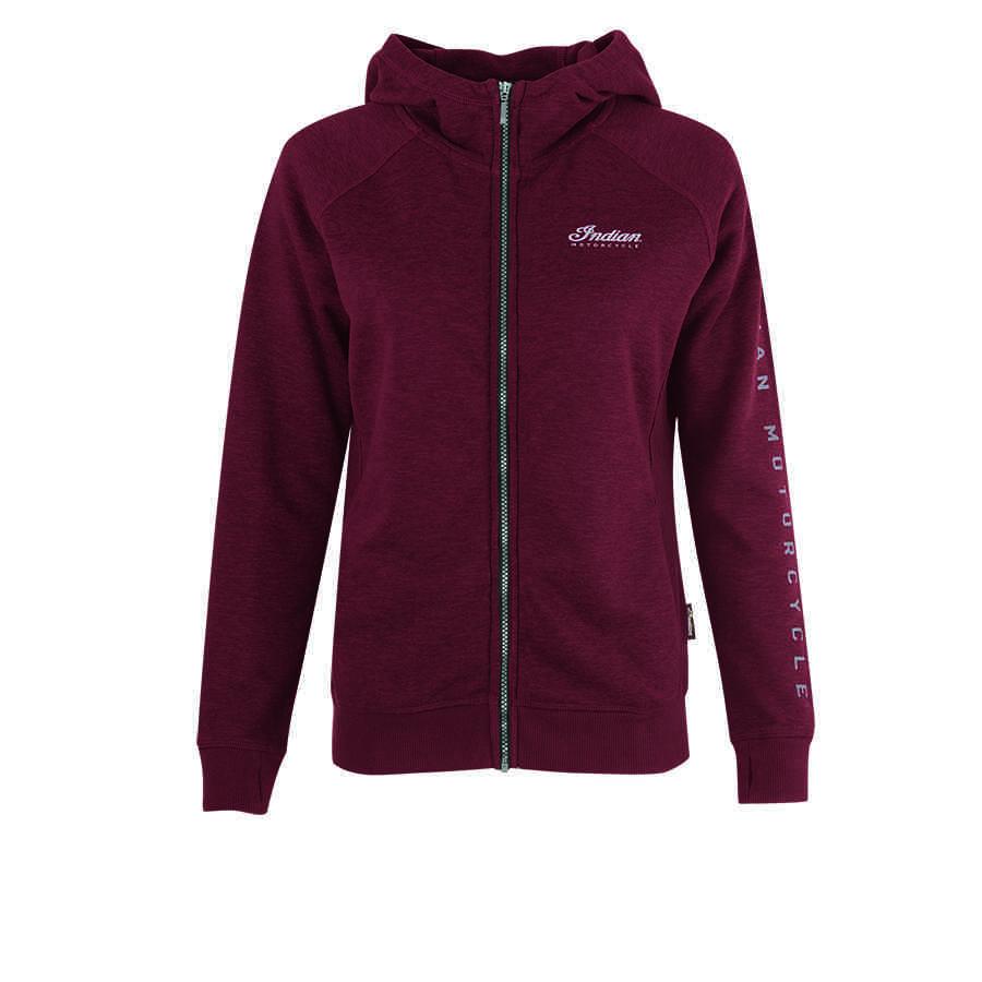 Women's Zip-Up Hoodie Sweatshirt with Block Logo Hood, Port