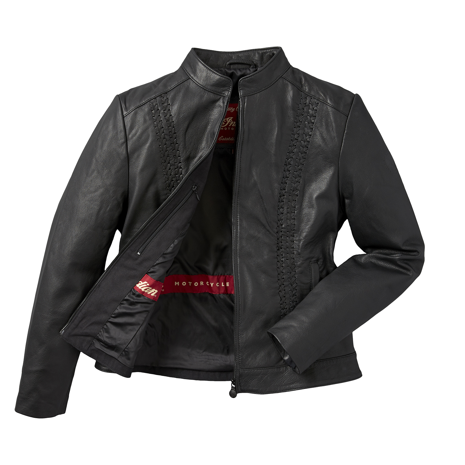 miniature 13 - Indian Motorcycle Women's Leather Charlotte Casual Jacket, Black