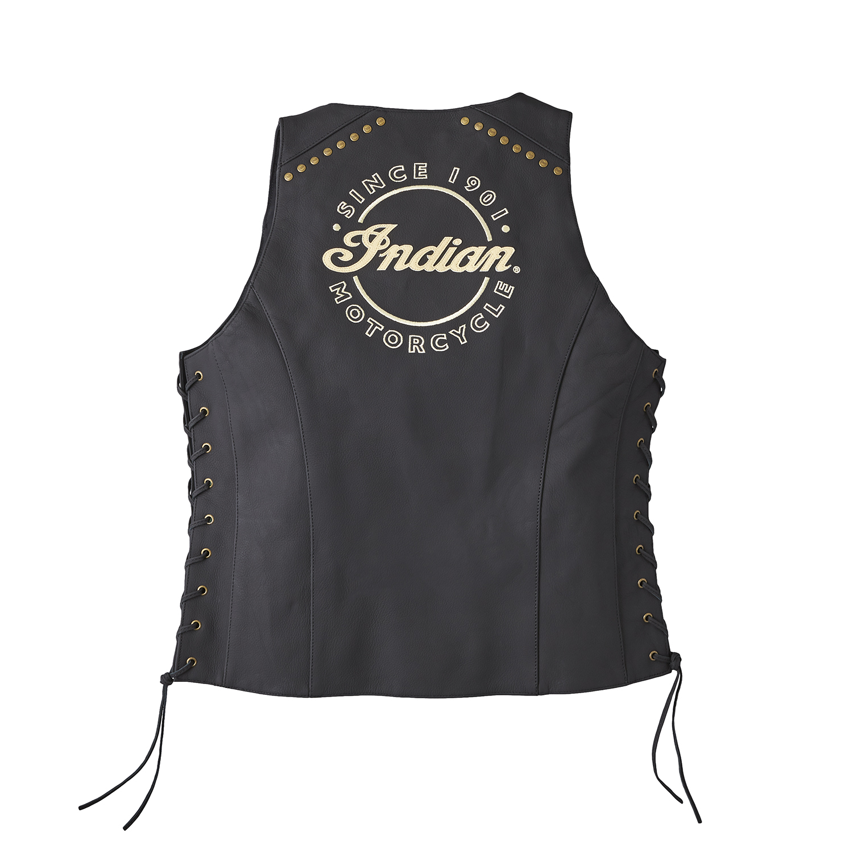 miniature 7 - Indian Motorcycle Women's Classic Leather Vest, Black