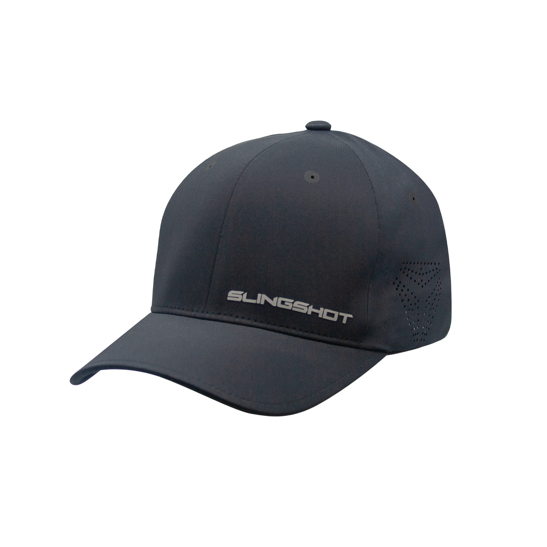 Men's (L/XL) Premium Hat with Slingshot Logo, Black