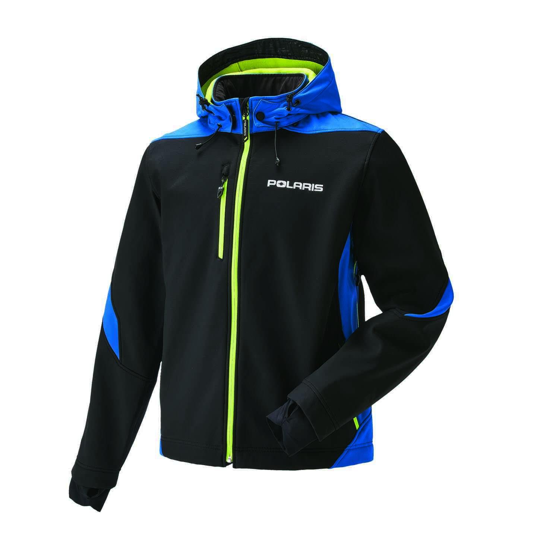 Men's Softshell Jacket with White Polaris® Logo, Black