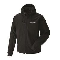 Men's Softshell Jacket with White Logo, Black