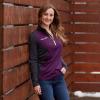 Women's Quarter-Zip Performance Mid Layer Jacket with Polaris® Logo, Purple/Lime - Image 3 of 3