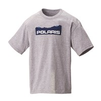 Youth Mountain-Scape Graphic T-Shirt with Polaris® Logo, Ash Heather
