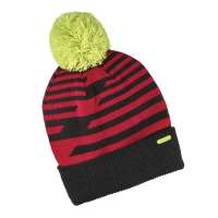 Youth Knit POM Beanie with Metallic Polaris® Tag, Red/Yellow