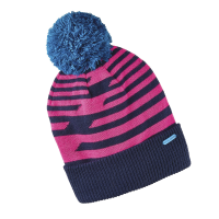 Youth Knit POM Beanie with Metallic Polaris® Tag, Navy/Pink