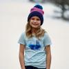 Youth Knit POM Beanie with Metallic Polaris® Tag, Navy/Pink - Image 5 de 6