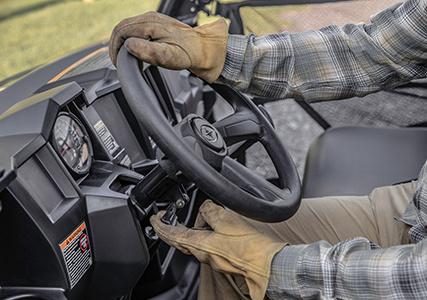Tilt steering adjusting the Ranger 570 steering wheel