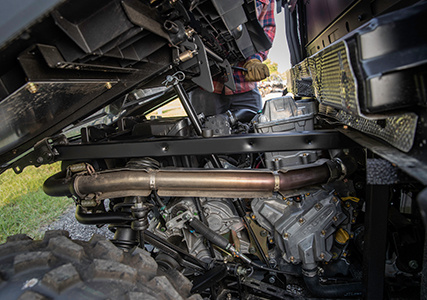 Close view of the Ranger 570 Gas Assist Dump Box