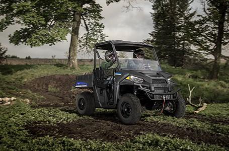 Ranger EV on a trail road