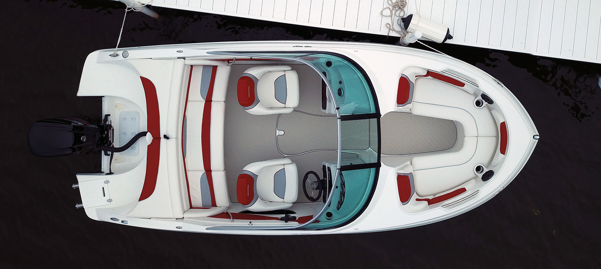 Overhead pic of 19QX Outboard boat