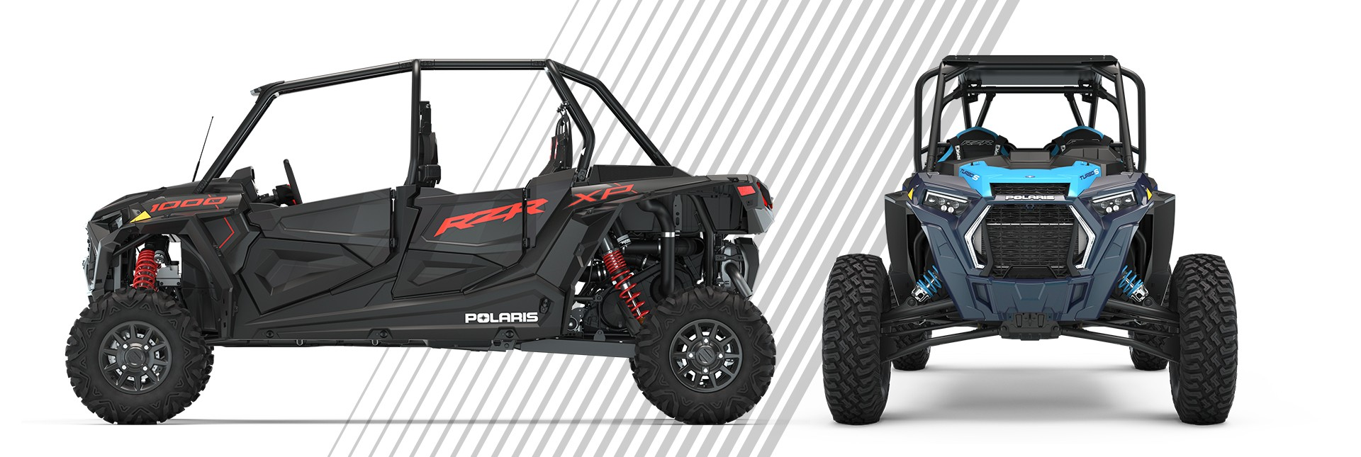 front and side view of RZR 4-Seat vehicles