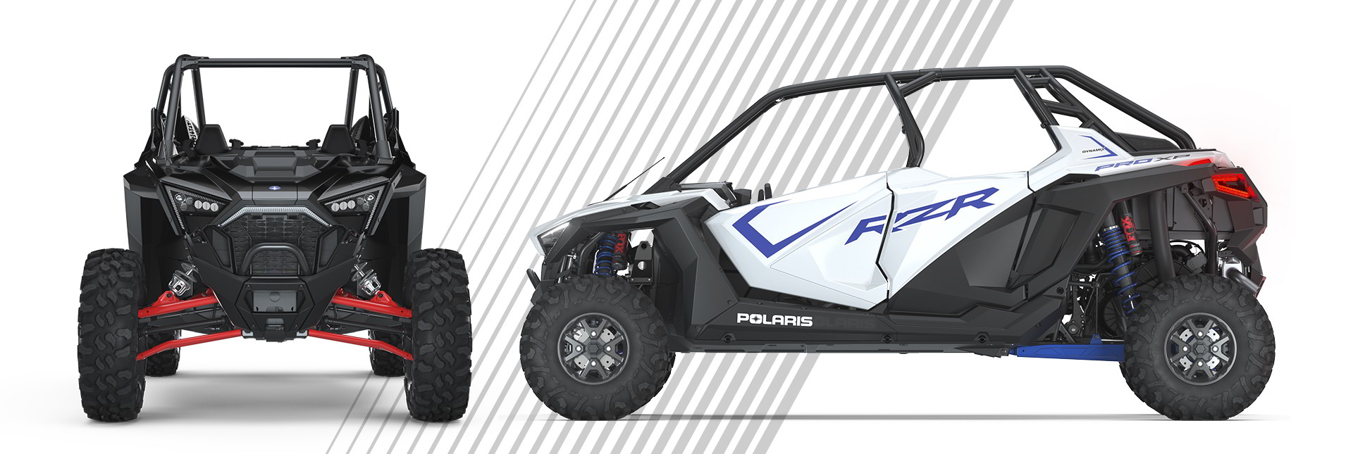 front and side view of RZR Pro