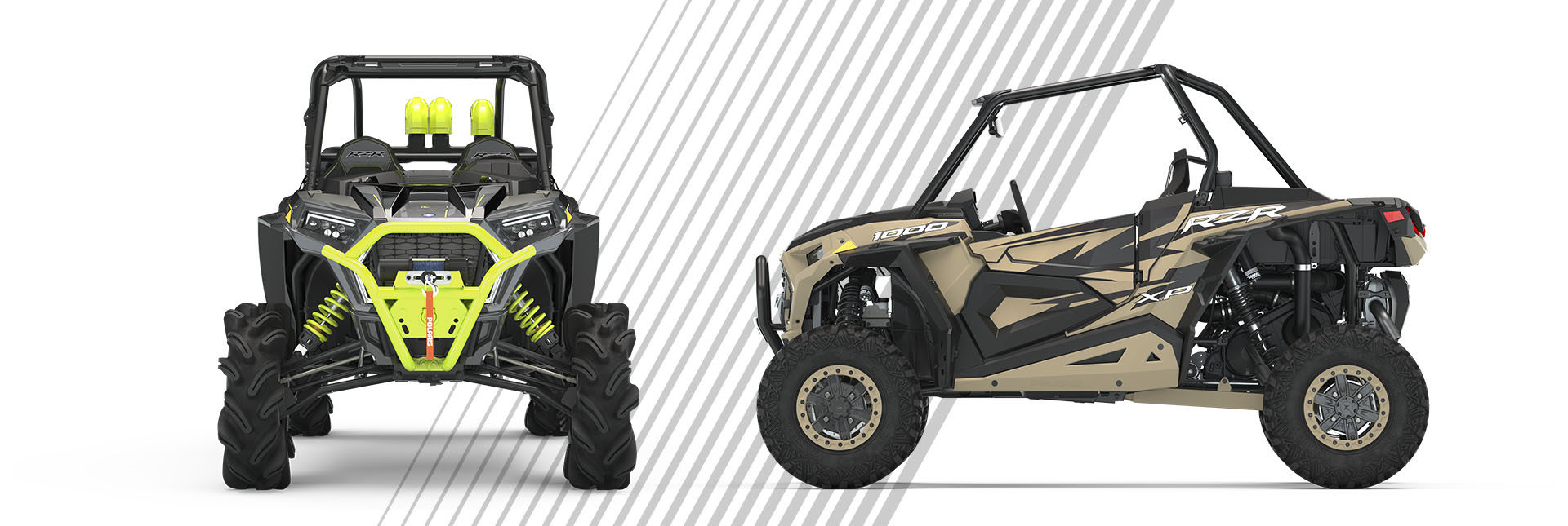 front and side view of Special Editions RZR vehicles