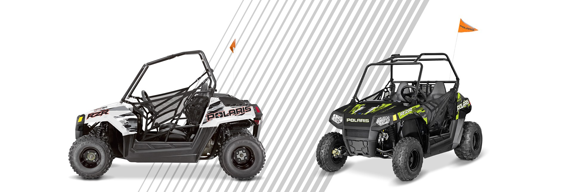 front and side view of youth RZR vehicles