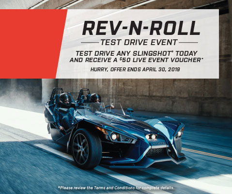 Test Drive Any Slingshot Today and Receive a $50 Live Event Voucher