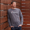 Men's Long-Sleeve Retro Graphic Tee with Logo, Gray - Image 4 of 5